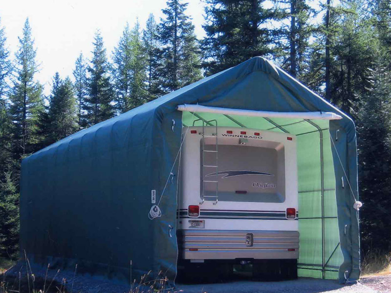 Motorhome Storage Portable Shelter : Portable garage buildings have a myriad of uses