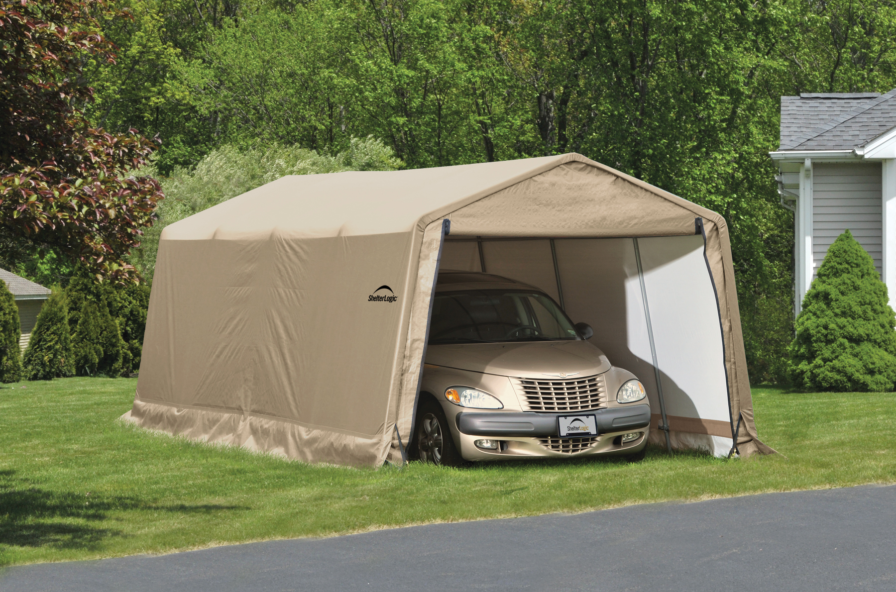 shelterlogic portable car garage shelters. Black Bedroom Furniture Sets. Home Design Ideas